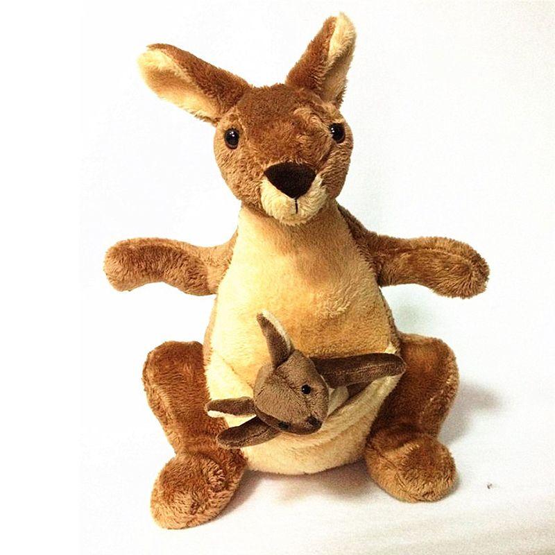 25 cm En Peluche Kangourou Jouets avec Souple PP Coton Creative Animal En Peluche Poupées Mignon Kangourous avec Petit Bébé Jouets Cadeau pour Enfants