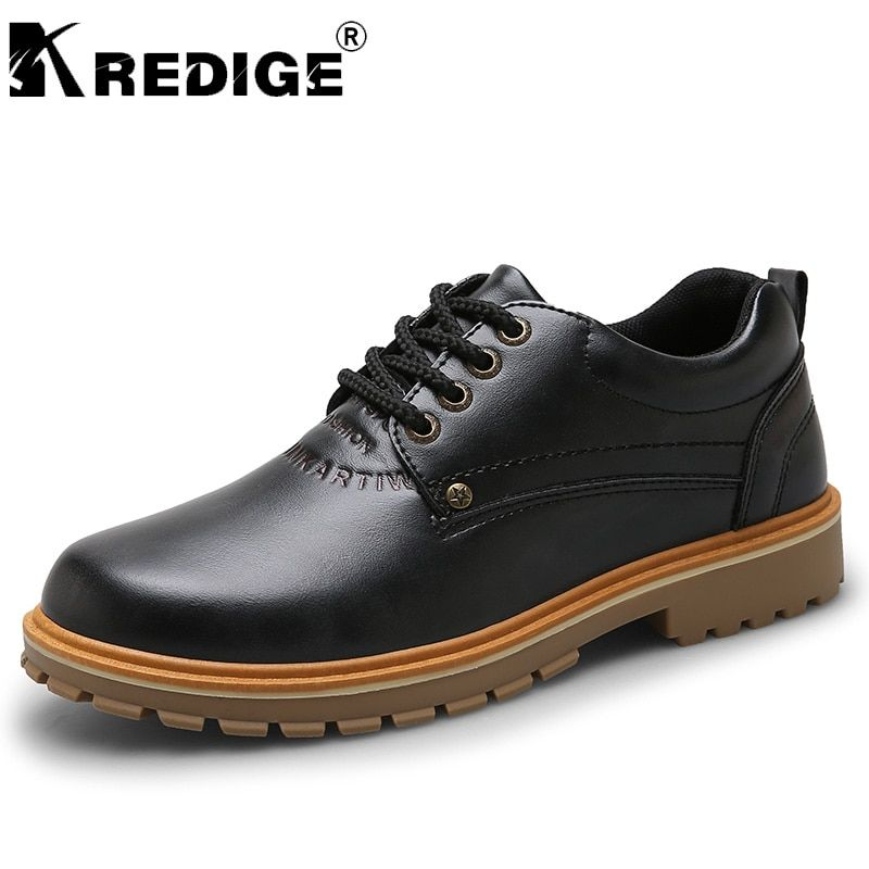 KREDIGE PU Lace-Up Low Casual Shoes Mens New Breathable Round Toe Retro Shoes Non-Slip Soles Height Increasing Male Shoes 39-44