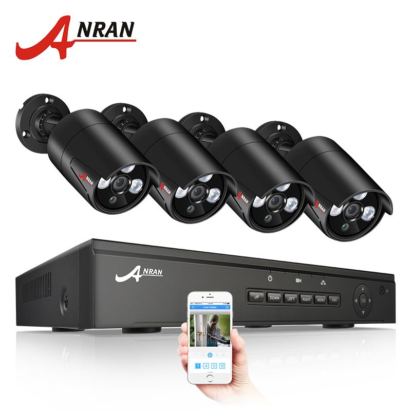 ANRAN CCTV System POE 4CH NVR Kit 48V Power Onvif 1080P Security Camera System HD IP Camera Outdoor Video Surveillance System