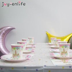 JOY-ENLIFE Rose Licorne Parti Serviette Papier Chapeau Plaque Tasse Nappe Ballons 1er Anniversaire Décoration Kid Party Favor Fournitures