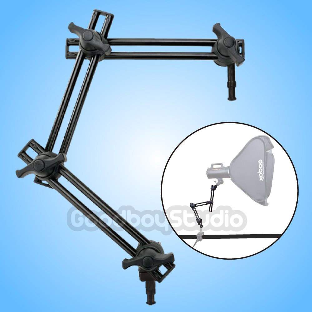 Photo Studio 3-Section Double Adjustable Holder Articulated Arm Boom Sliding Extension System Light Stand Accessorires