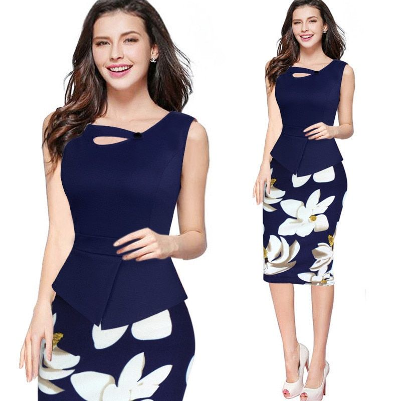 2018 Fashion Women Elegant Vintage Flower Floral Print Pinup Tunic Casual Wear To Work Office Party Pencil Sheath Dress Suit
