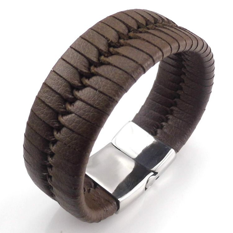 Fashion Wide Cuff Leather Bracelets Silver Stainless Steel Ball Magnetic Clasp Punk Leather Bracelets Pulseras Jewelry For Men