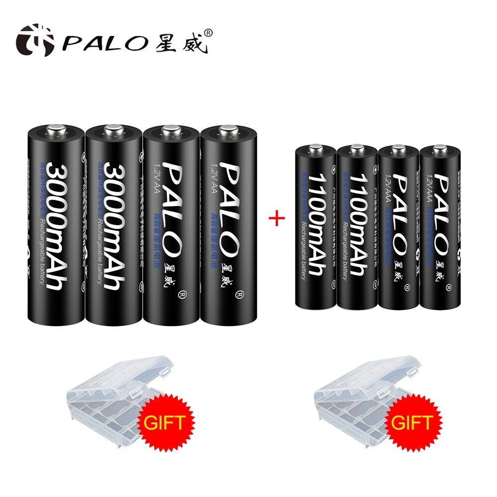 PALO 8 PCS/Lot Batterie Rechargeable Ensemble Comprend 4 pièces AA 3000mAh & 4 pièces AAA 1100mAh NI-MH AA/AAA Piles Rechargeables Pour Radio