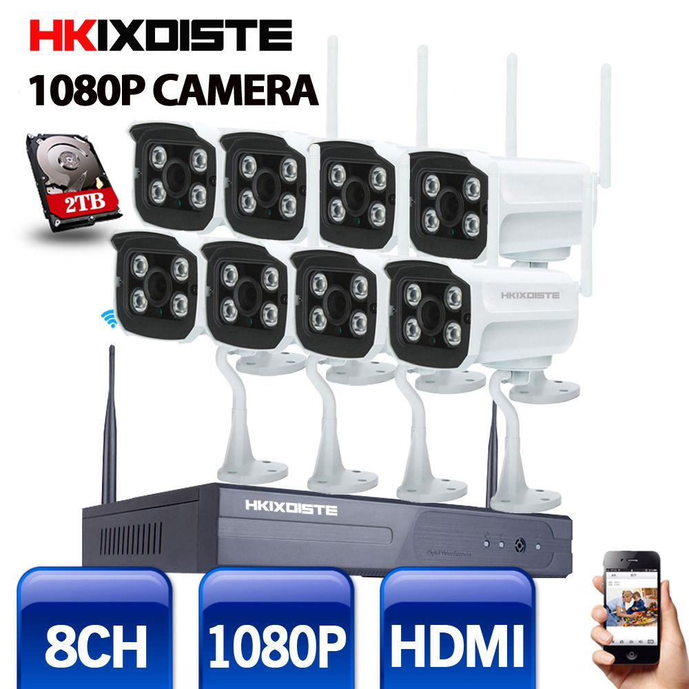 8CH IR HD Home Security Wireless NVR IP Camera System 1080P CCTV Set Outdoor Wifi Cameras Video NVR Surveillance CCTV KIT