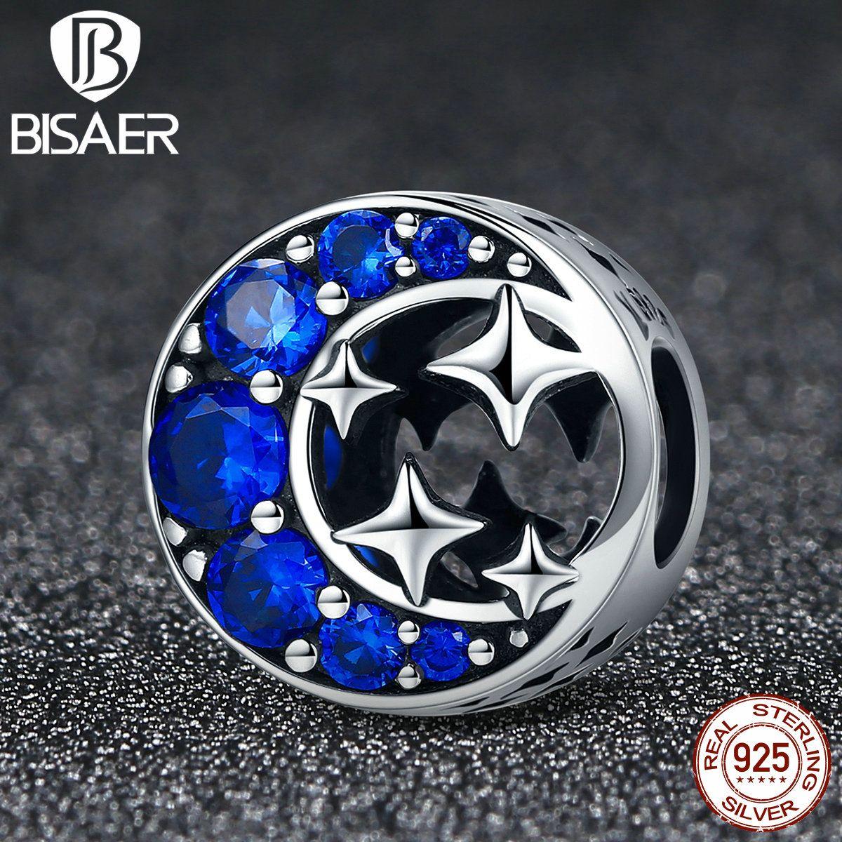 100% 925 Sterling Silver Moon & Stars legend, Fairy Tale Charms Fit Original BISAER Bracelets For Women Jewelry ECC184