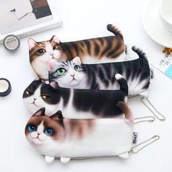 2017 NEW Kawaii Novelty Simulation Cartoon Cat Pencil Case Soft cloth  School Stationery Pen Bag Gift for Girl Boy Student