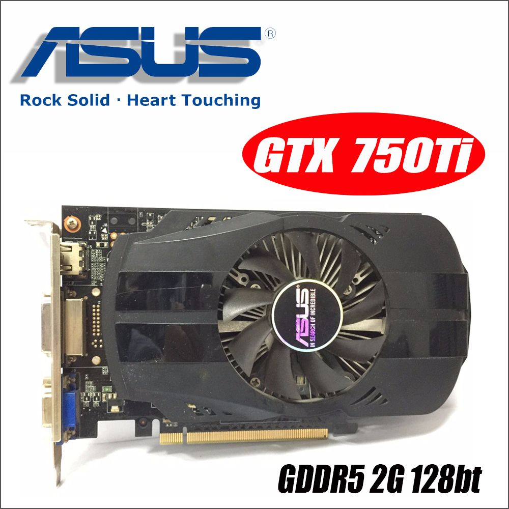 Asus GTX-750TI-OC-2GB GTX750TI GTX 750TI 2G D5 DDR5 128 Bit PC Desktop Graphics Cards PCI Express 3.0 computer GTX 750