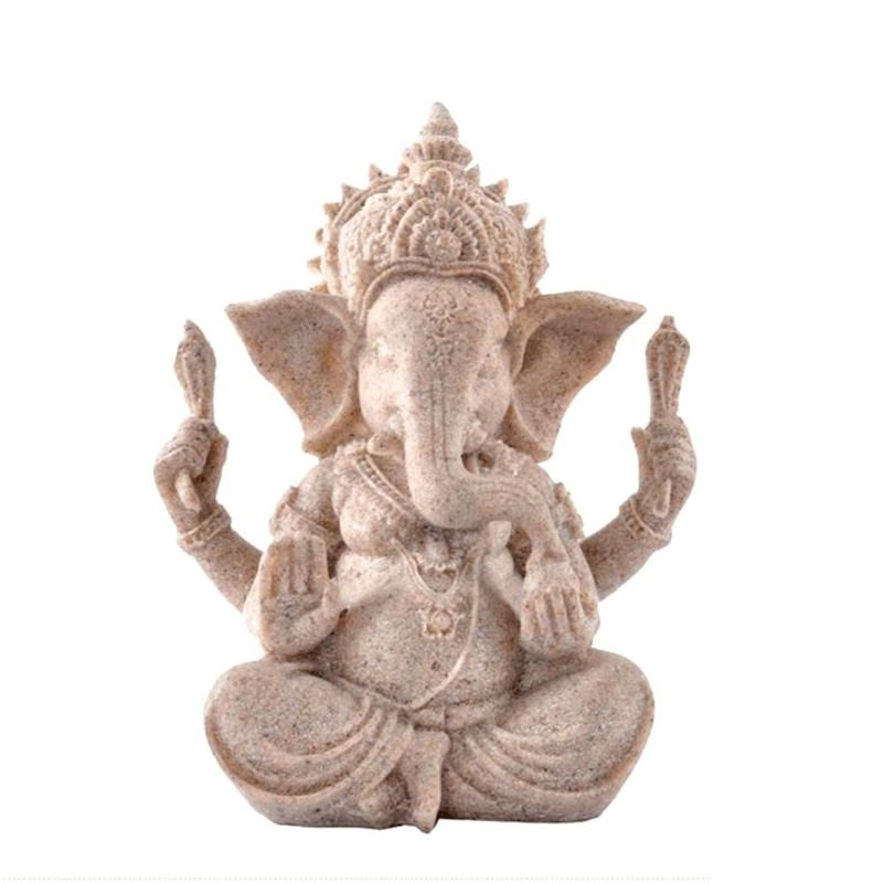 Sandstone Indian Ganesha Figurine Fengshui Elephant Sculpture Hand Carved Seated Buddha Statue Fengshui Luck Hindu Resin Craft