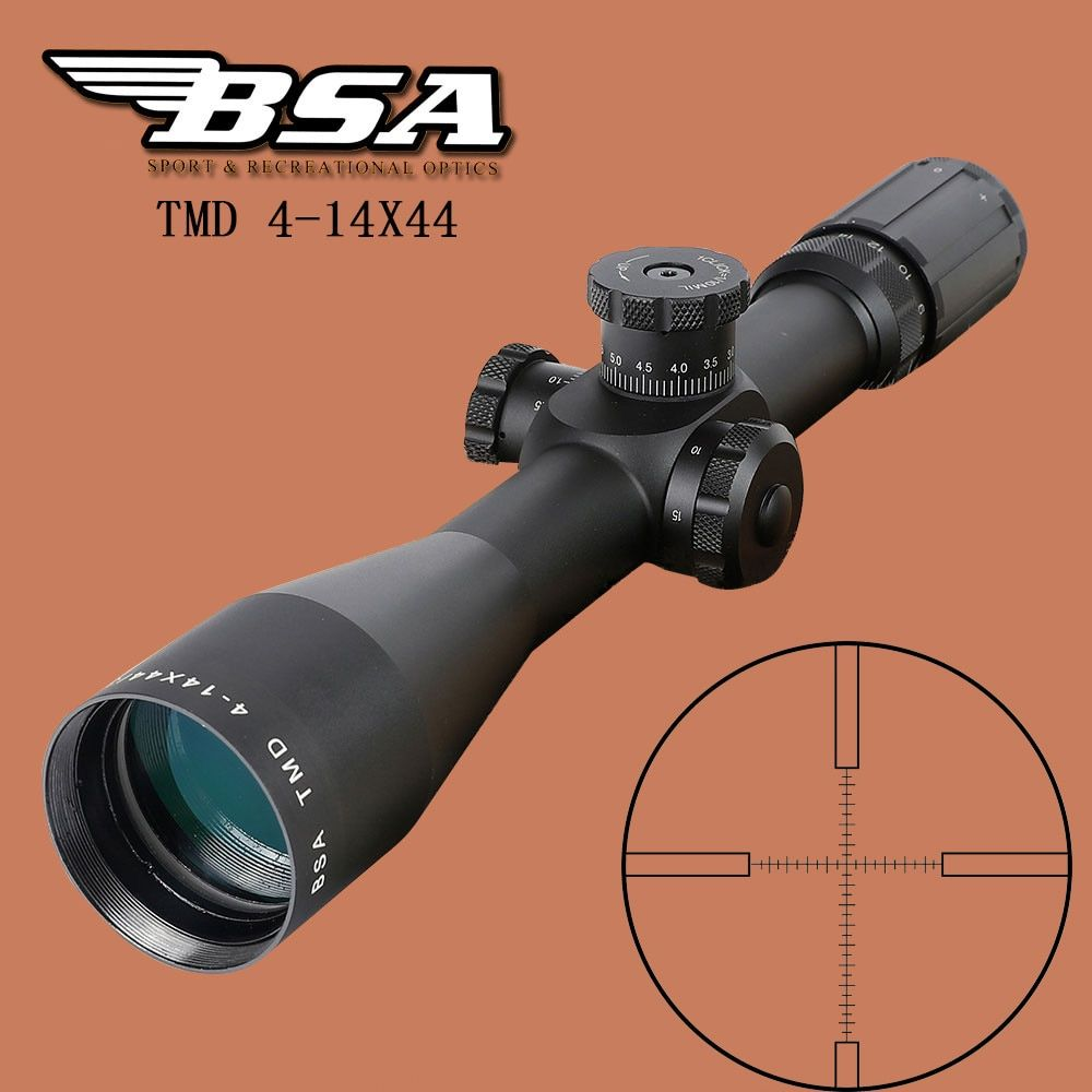 BSA TMD 4-14X44 FFP Hunting Riflescope First Focal Plane Glass Mil Dot Reticle Tactical Optics Sight Side Parallax Rifle Scope