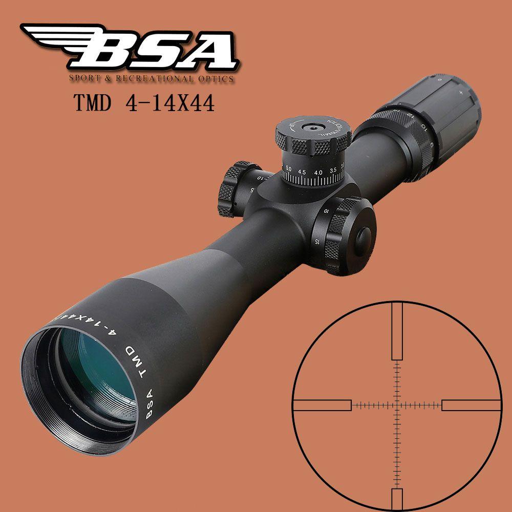 BSA TMD 4-14X44 FFP Jagd Zielfernrohr Erste Brennebene Glas Mil Dot Absehen Tactical Optics Anblick Seite Parallaxe Zielfernrohr