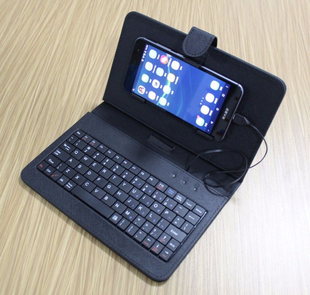 Black Mini Wired Keyboard General Wired Keyboard Flip Holster Case For Andriod OTG Mobile Phone 4.2''-6.8'' Tablet Laptop PC