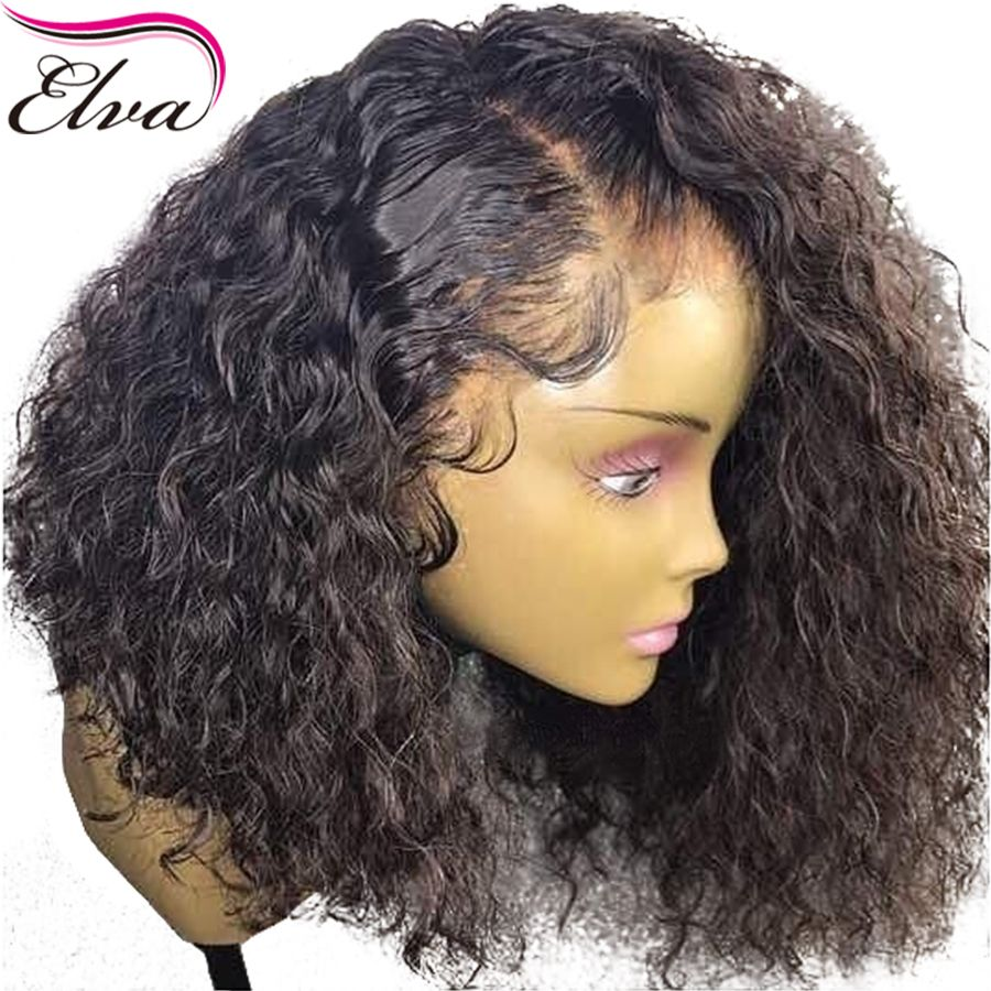 Curly 360 Lace Frontal Wig Pre Plucked With Baby Hair 180% Density <font><b>Short</b></font> Human Hair Bob Wigs Brazilian Remy Elva Hair Bob Wig