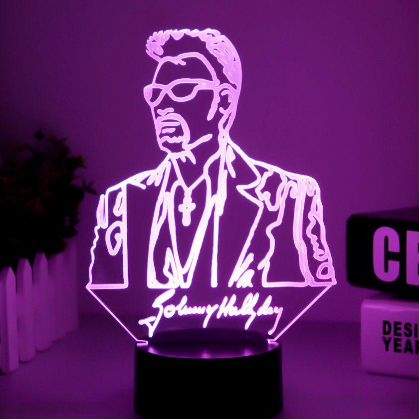 Johnny Hallyday lampe 3d Illusion De Chevet led USB Tactile RGB 7 Couleur Table À Langer Lumière de Nuit Chanteur Bébé lampe décorative Décor