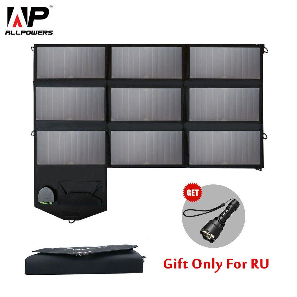 ALLPOWERS 60W Handy-ladegerät 5V 12V 18V Tragbare Faltbare Solar Panel Ladegerät Pack für iPhone 6 7 8 Laptops Tabletten Smartphones