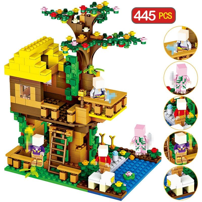 445pcs My World Brinquedo Bricks Classic Compatible Legoingly Minecrafted Jungle Tree House Building Blocks Toys For Children