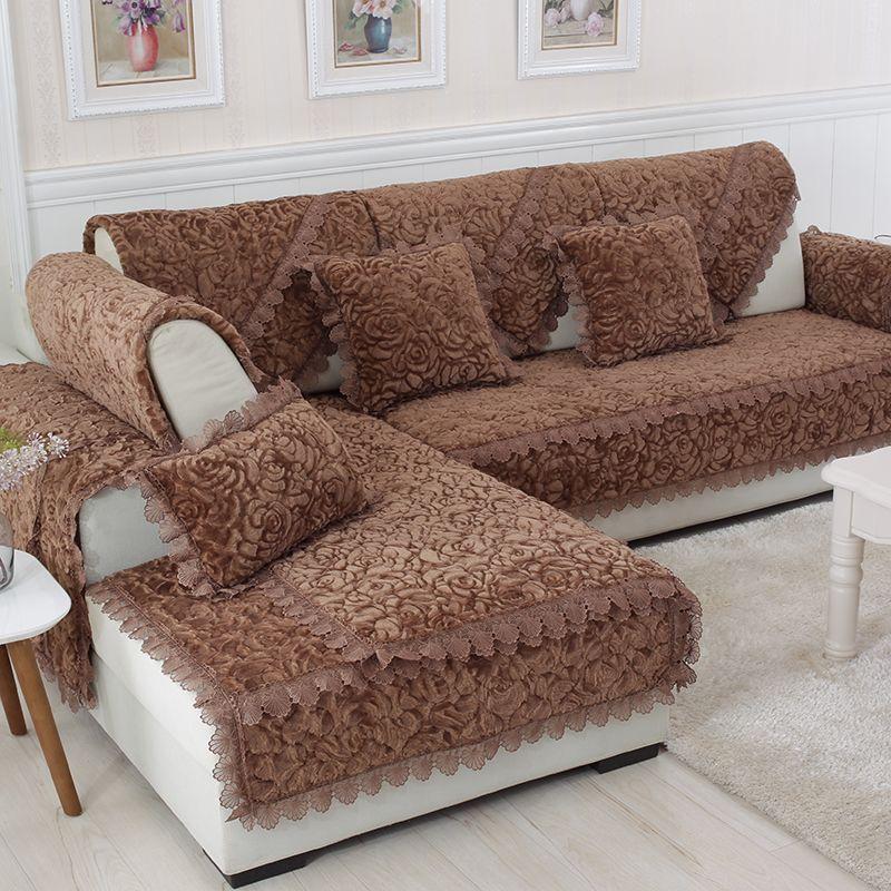 Épaissir peluche tissu canapé couverture dentelle antidérapant housse de siège Style européen canapé couverture canapé serviette pour salon décor