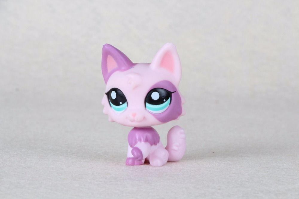 New pet Genuine Original LPS #2100 Purple Pink Wolf Cat Kitty Long Hair Toys