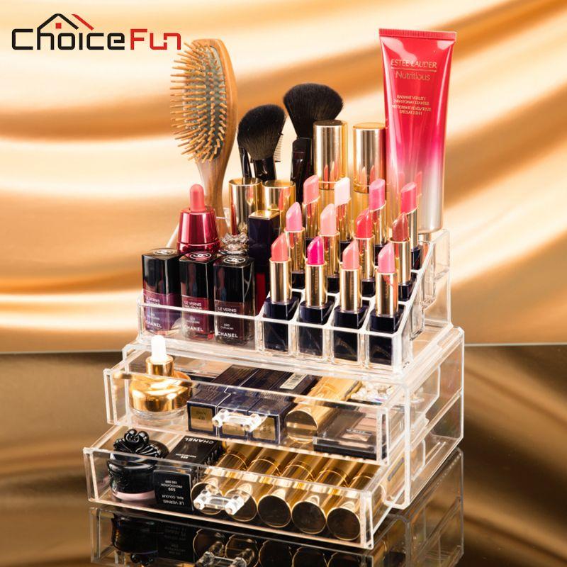 CHOICEFUN 2 Tiroirs Acrylique Multifonctionnel Organisateur Cosmétique Brosse Rouge À Lèvres Bijoux Nécéssaires Pour Femme Maquillage SF-1029-2