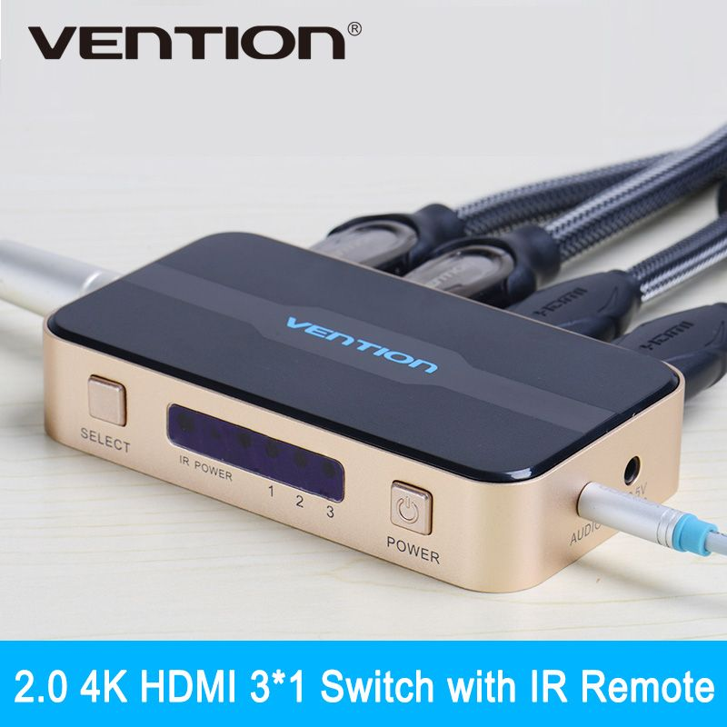 Vention 3 in 1 out HDMI Switch Switcher HDMI Splitter with Audio for XBOX 360 PS3 PS4 Smart HD 1080P 3 Input to 1 Output