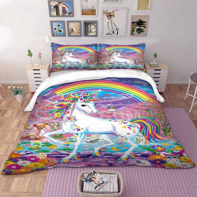 3D Floral Unicorn Bedding Set Rainbow Duvet Cover Pillow Cases Twin Full Queen King AU Single UK Double Size 3D Bedclothes Kids
