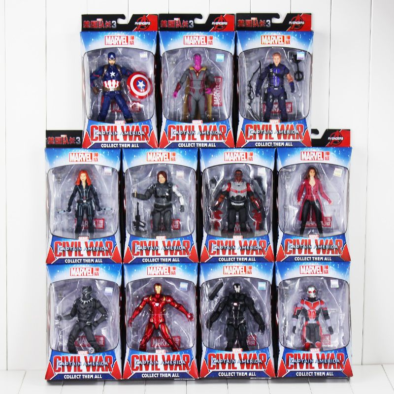 Captain America Black Panther Widows Iron Man Winter Soldier Vision Scarlet Witch Action Figure Toy Model Doll Gift for Children