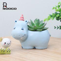 Roogo 6Design Modern Cartoon Succulent Planter Pot Resin Creative Handicraft Animals Kawaii Shape Desktop Decoration Flower Pots