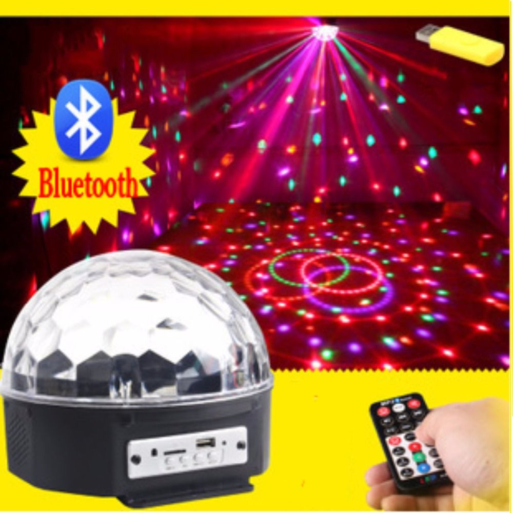 Bluetooth MP3 6LED bola mágica de cristal llevó la lámpara de la etapa KTV disco luz láser partido luces láser de control de sonido música proyector KTV
