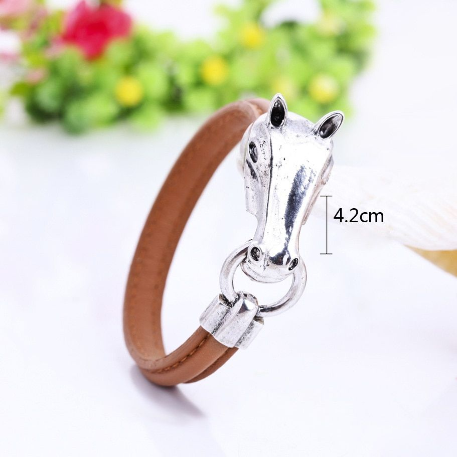 4.2cm horse head leather men cuff bangle bracelet antique silver brown leather men cuff bracelet