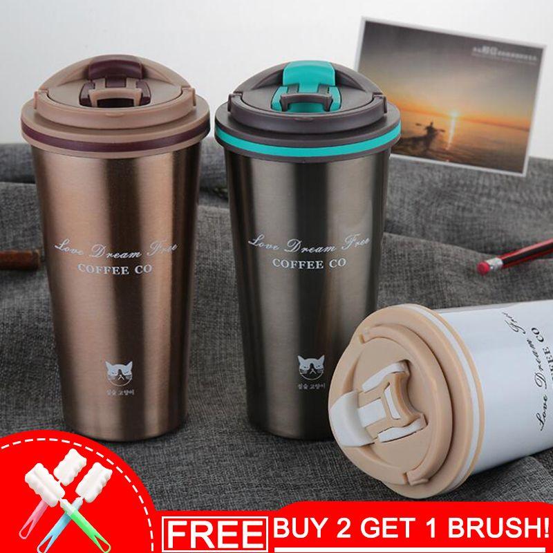 Keelorn 500 ml Thermos Tasse Café Tasse avec Couvercle Thermocup Joint vide En Acier Inoxydable flacons Thermo tasse de L'eau De Voiture bouteilles