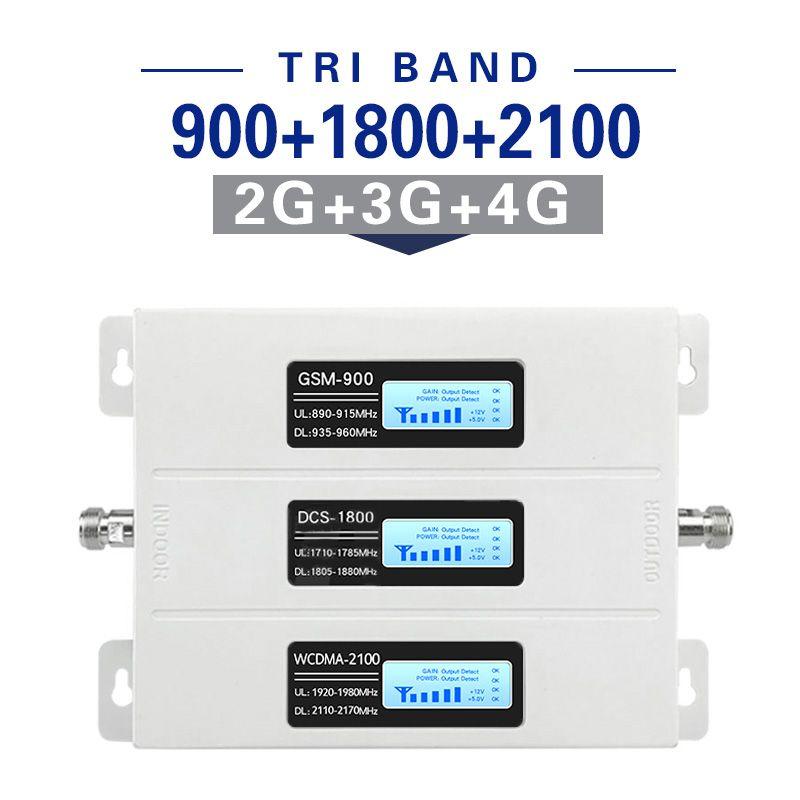 2G 3G 4G Signal Booster GSM Repeater Verstärker 4G Handy GSM 900 DCS 1800 WCDMA 2100 Tir Band Handy cellular Booster