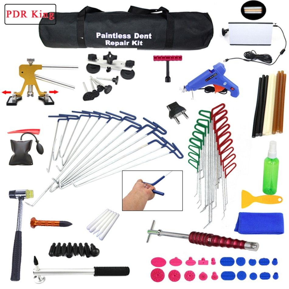 PDR Tools Ding Dent Repair Rods Professional Paintless Hail Removal Big Kit paintless dent repair tools pdr hook slide hammer