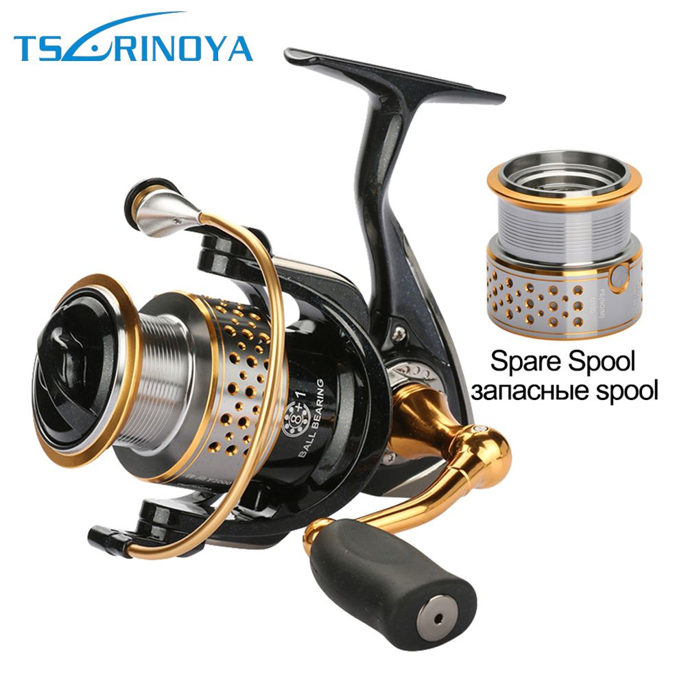 Tsurinoya Metal Fishing Reels Spinning Reel Left / Right Hand with one Spare Spool 9BB Carp Fishing Reel
