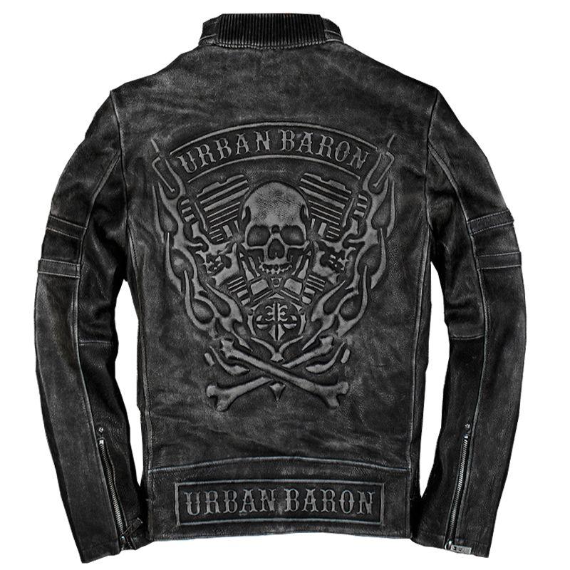 2019 Vintage Schwarz männer Schädel biker Leder Jacke Plus Größe XXXL Echtem Rinds Slim Fit Motorradfahrer Jacke FREIES VERSCHIFFEN
