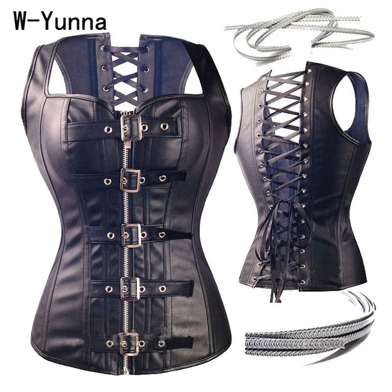 W-Yunna Hot Selling Steampunk Faux Leather Waist Trainer Lace Up Corset  Women Plus size 6XL Gothic Spiral Steel Bones Bustiers