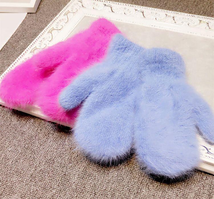 2015 Hiver Nouvelle Arrivée Femmes Doux cheveux de lapin en Laine Gants En Tricot Chaud Mode Belle Chaud Filles bonbons couleur Mitaines Gants