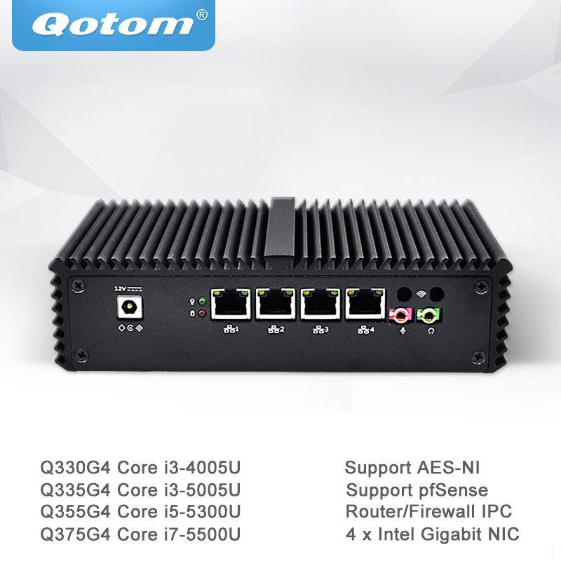 Qotom Mini PC Core i3 i5 i7 mit 4 Gigabit Ethernet NIC Pfsense AES-NI Fiewwall Router Maschine Micro Industrielle Computer q300G4