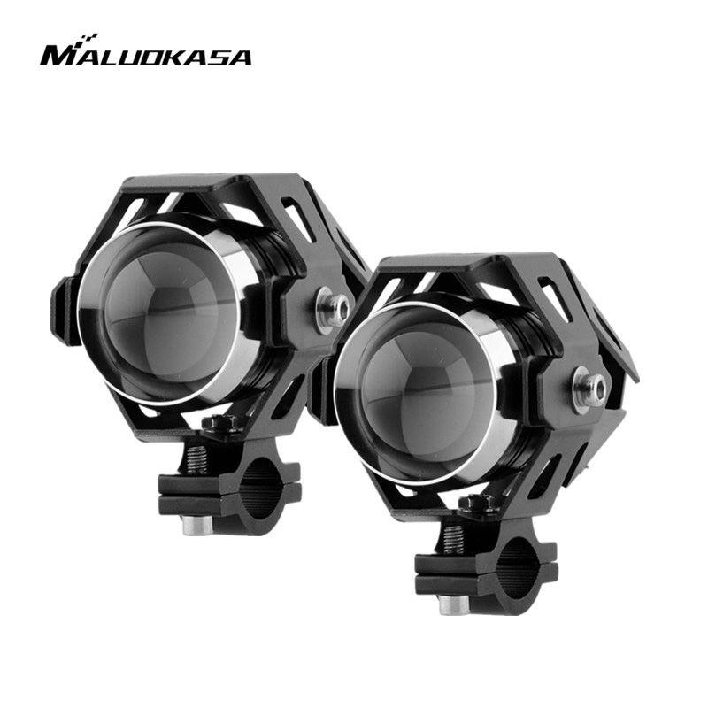 2PCs U5 Motorcycle Headlight 125W 3000LM LED Fog Lamp High Soft Strobe Beam Lights Motocross DRL Head Light Transform Spotlight