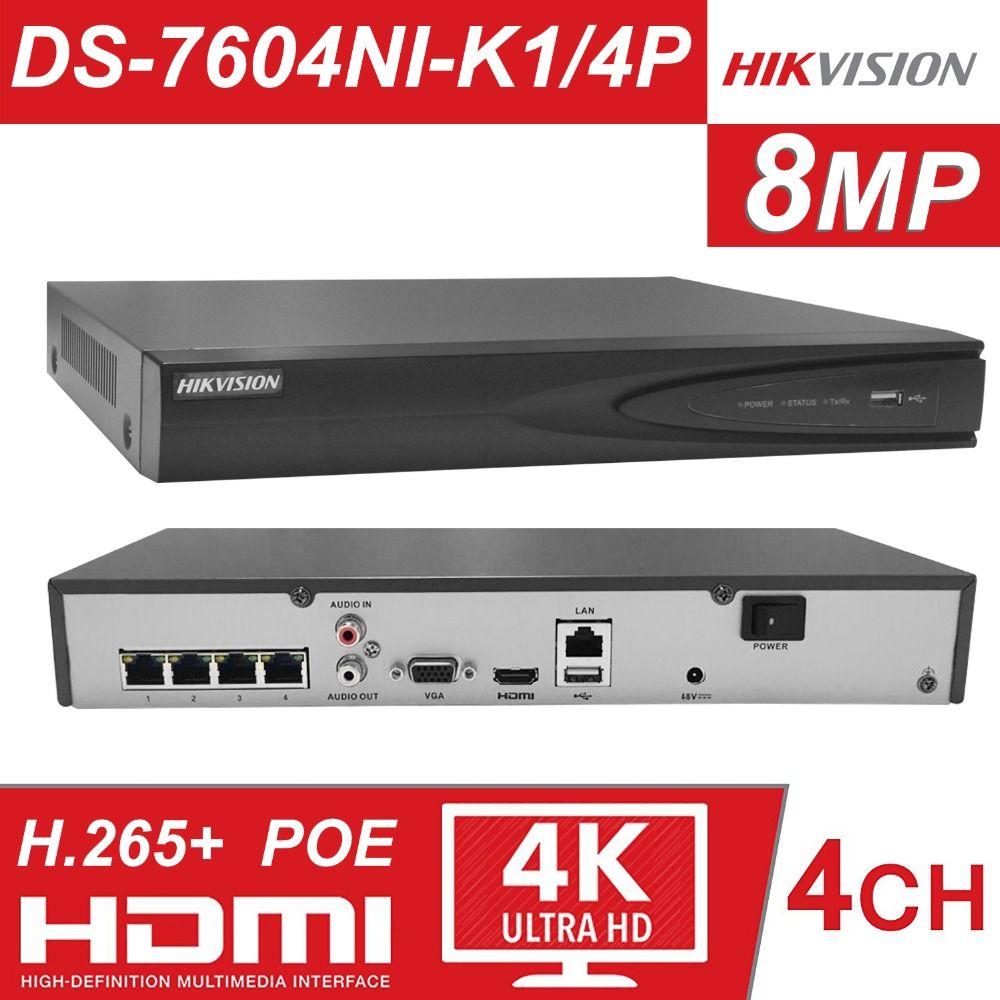 Hikvision 4CH PoE NVR DS-7604NI-K1/4 P 4 Channel Eingebettet Stecker Spielen 4 K NVR mit 4 PoE Ports für IP Kamera CCTV System