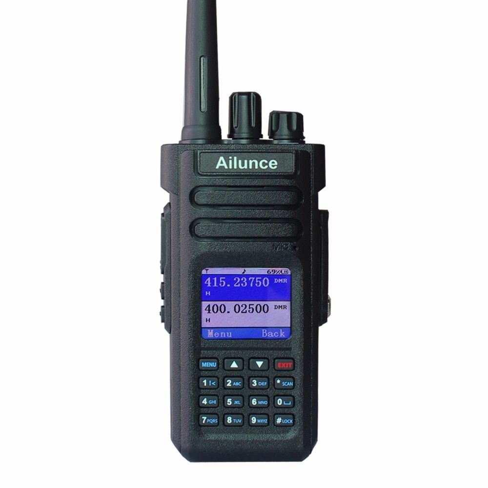 New HD1 Dual Band DMR Digital DCDM TDMA 10W/5W/1W 3200mAh Promiscuous Function 32 Radio ID Side Key Customized Waterproof Radio