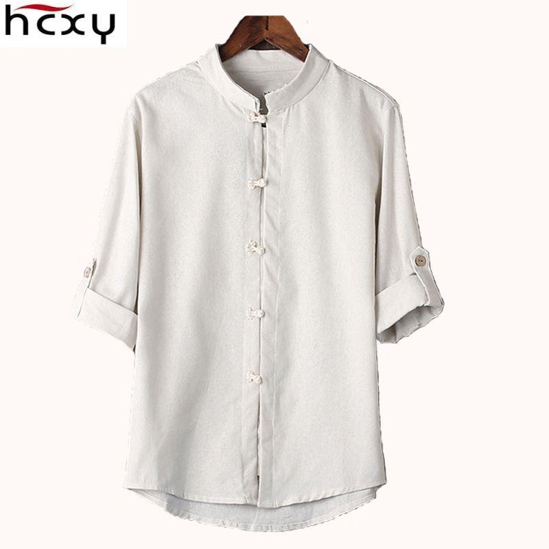 HCXY Chinese style linen shirt mens blouse new big yards 7 <font><b>points</b></font> sleeve cotton shirt M-5XL famous brand men shirts 2017