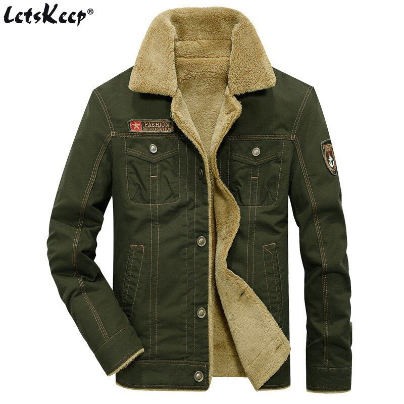 2016 LetsKeep new winter Bomber Jackets Men Army Outerwear tactical jackets mens cotton thick fur collar warm coats M-5XL, MA234