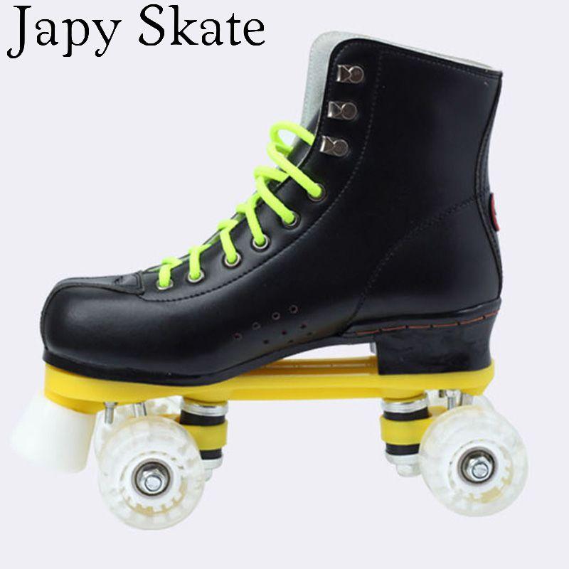 Japy skate rollschuhe double linie schlittschuhe schwarz mit pu räder weiß Unsex Modelle Erwachsene 4 Räder Zwei linie Roller Skating Schuhe