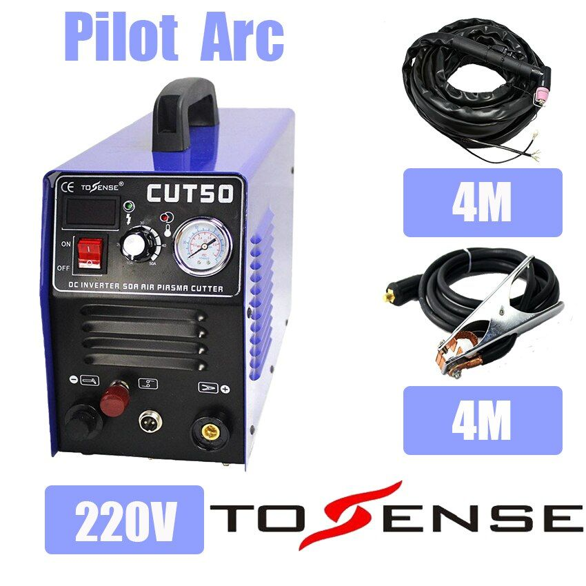 New 220V Single Voltage CNC Pilot Arc Plsama Cutting Machine CUT50P With WSD60 Torch & Consumables Nozzles & Ground Clamp 4M