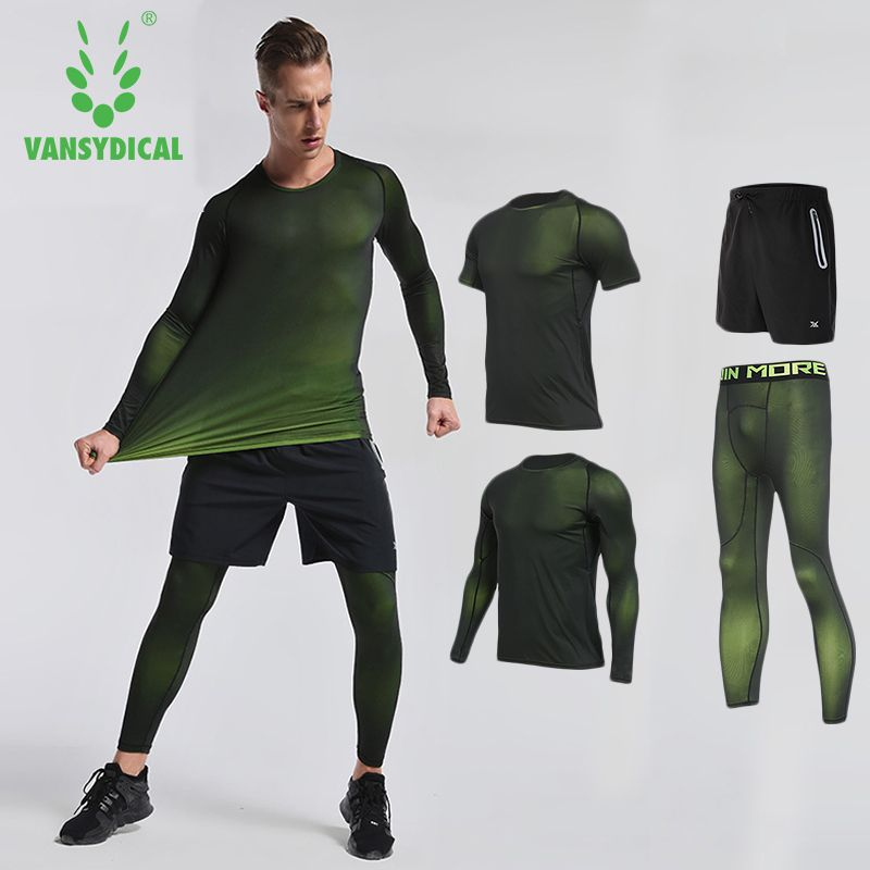 2018 Vansydical Mens Compression Set Running Tights Workout Fitness Training Tracksuit Long Sleeves Shirts Sport Suit Rashgard