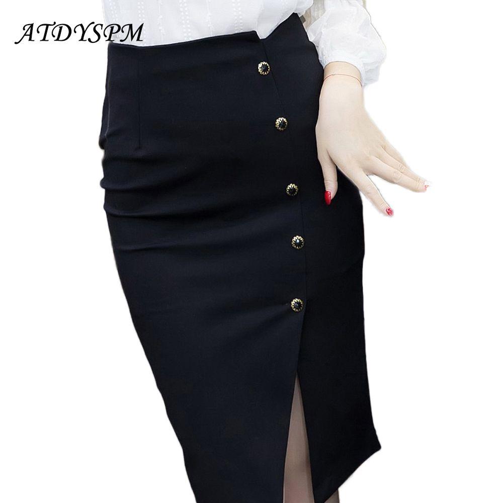 Femmes élégantes Vintage bureau dame OL jupes taille haute boutons fente crayon jupes femmes grande taille S-5XL Stretch Midi jupes