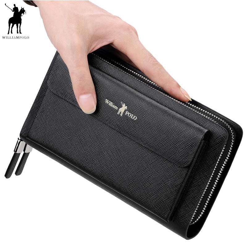 2018 New WILLIAMPOLO Men Clutch Bag Wallet Genuine Leather Strap Flap Clutches with 21 Card Holder Elegant Handy Wallet For Male