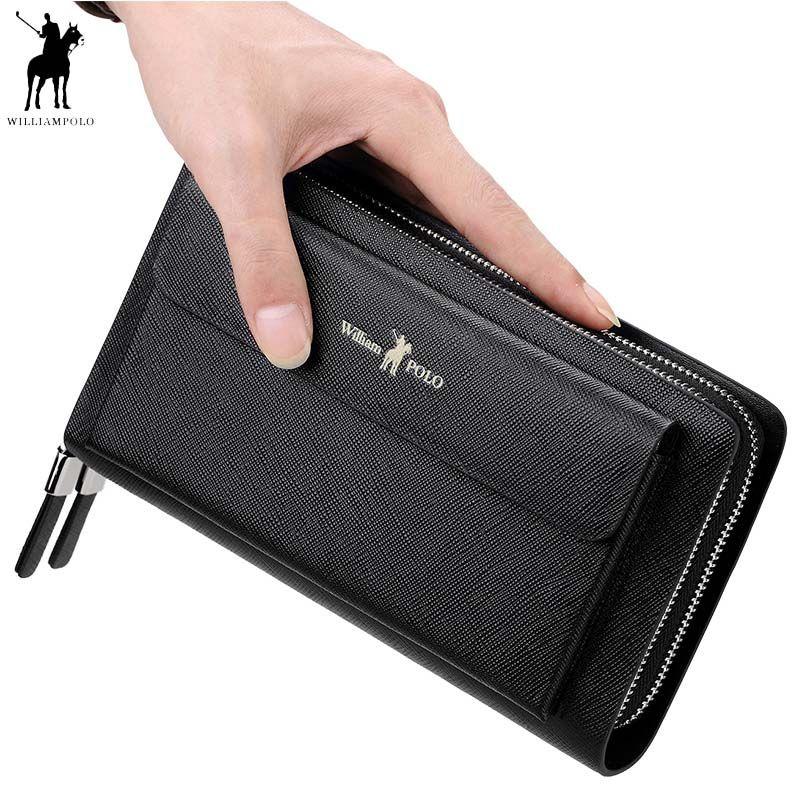 2018 neue WILLIAMPOLO Männer Handtasche Geldbörse Aus Echtem Leder Strap Klappe Kupplungen mit 21 Karte Halter Elegante Handliche Brieftasche Für männlichen