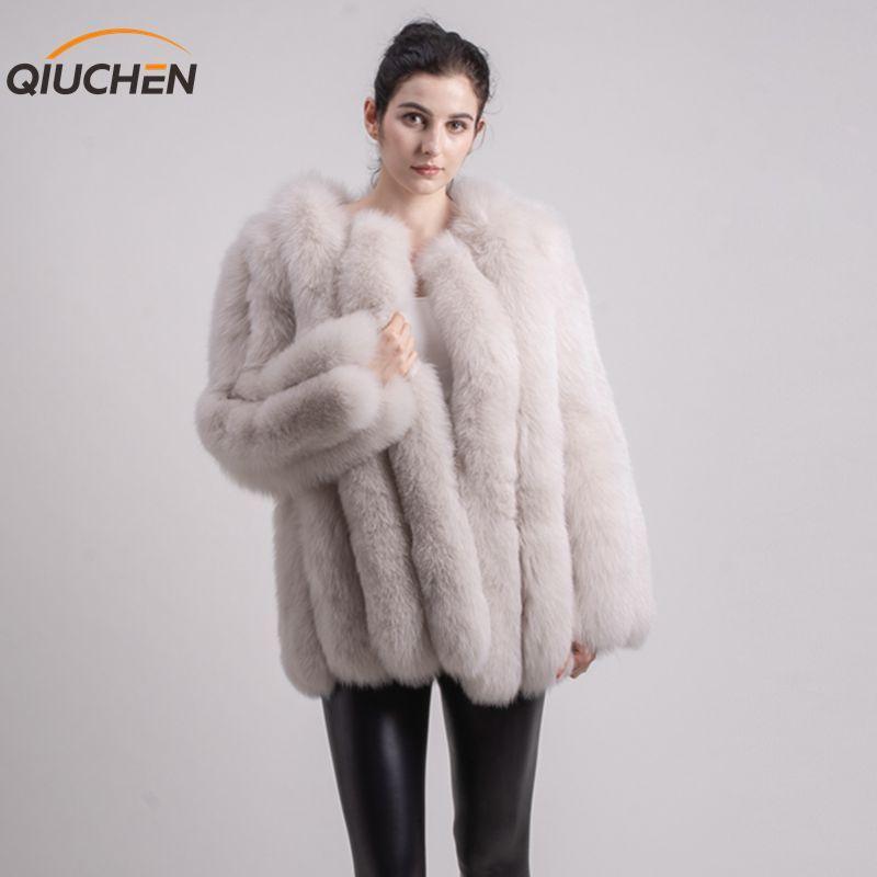 QIUCHEN PJ1824 2019 neue ankunft frauen echt fox pelzmantel flauschigen winter outwear mode High-end-pelzmantel