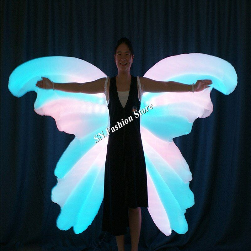TC-185 Programmable Inflatable full color led costumes ballroom dance butterfly wings women dress light luminous colorful wears